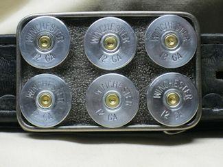 Shotgun Shell Belt Buckle - 12 Ga Remington Six Pack Brass
