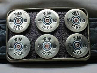 Shotgun Shell Belt Buckle - 12 Ga Winchester AA Six Pack Brass