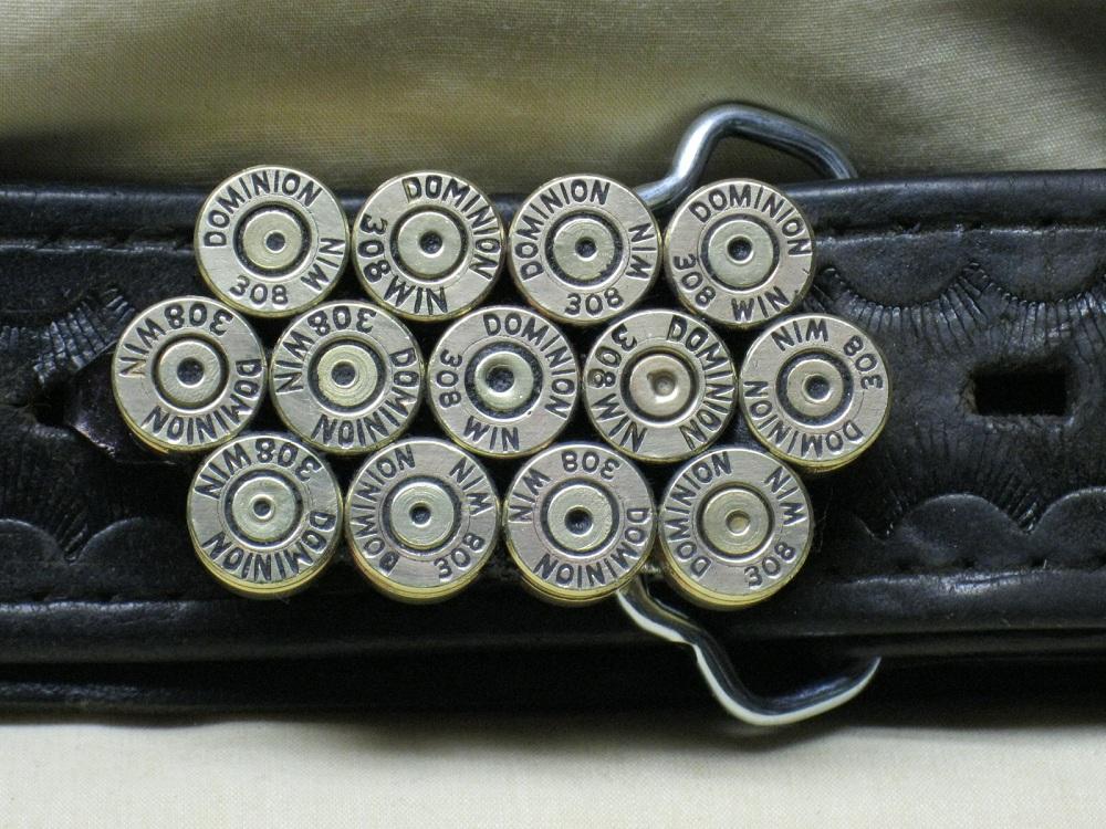 308 Winchester Brass Straightline Belt Buckle