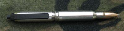 Military 7.62 Nickel Clicker Bullet Pen - retractable model
