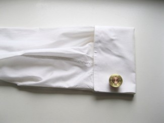 Winchester Brass Large Center Monogram Cufflink shown on shirt
