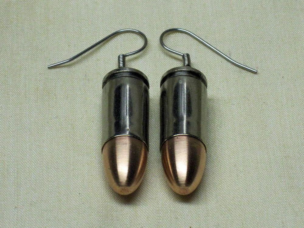 9mm Luger Bullet Earrings