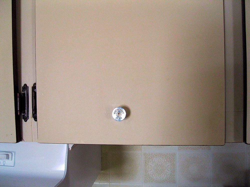 Cabinet Door Knob shown on cabinet door