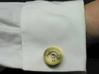 Brass Shotgun Shell Cufflinks shown on shirt