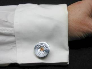 Nickel Shotgun Shell Cufflinks shown on shirt
